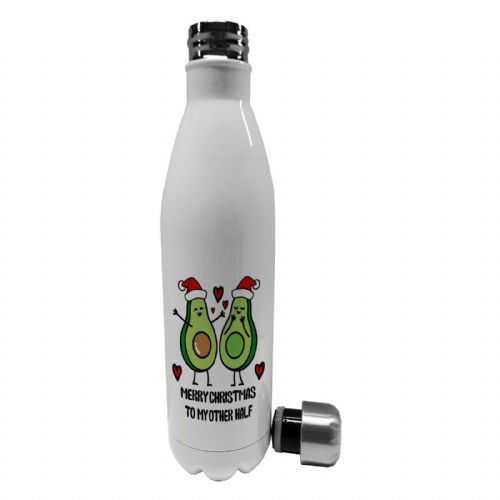 750ml Merry Christmas To My Other Half Avocado Steel Vacuum Insulated Water